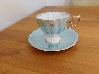 Vintage Japanese Lusterware Pedestal Teacup and Saucer Iridescent Green and Gold