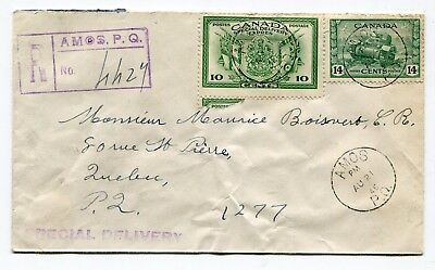 Canada Quebec - Amos 1946 Registered / Special Delivery Cover - Attractive Frank