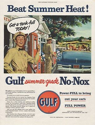 Vintage 1951 GULF OIL Print Ad Great Old Service Station Scene
