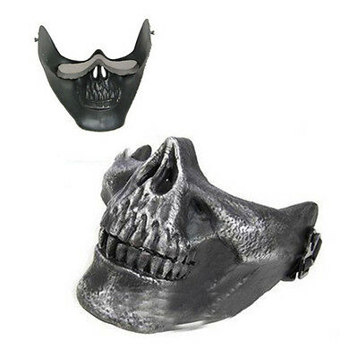 10x(Skull Skeleton Airsoft Paintball Half Face Protect Mask For Halloween C P0Y4