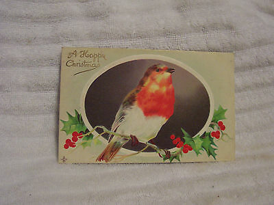 antique XMAS POSTCARD vintage 1911 Christmas Robin on  Holly Branch   USED