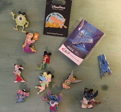 Disney Pin Lot of Assorted Pins No Doubles Trading Stitch Tangled Ariel Tinker