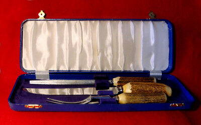 Vintage Birks Sheffield 3-Piece Antler Handled Carving Set Stainless Originalbox
