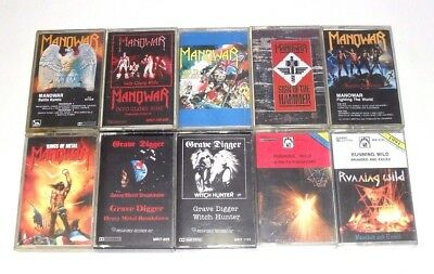 Lot Of 10xAudio MC Cassette Tapes/Heavy/Power Metal/DEMO/Manowar/USED AS BLANKS
