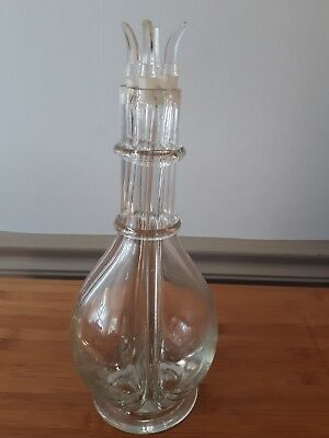 Vintage 4 Chamber Glass Liquor Decanter Bottle 4 Stoppers thick heavy glass