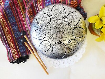"WuYou Special Notes 8"" Steel Tongue Drum Handpan Tank, FREE Bag and Mallets"