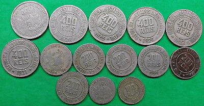 Lot of 14 Different Old Brazil 100-200-400 Reis Coins 1901-35 South America