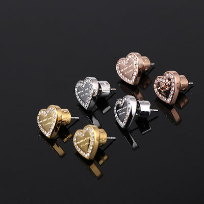 MICHAEL KORS Pave Heart Stud Earrings Silver / Rose Gold / Gold