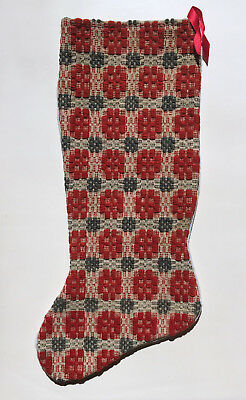 Vintage Christmas Stocking Made from Re-purposed Linsey-Woolsey Coverlet Fabric
