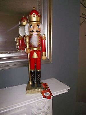 Nutcracker Soldier King Christmas Large 38Cms Red Bnwt