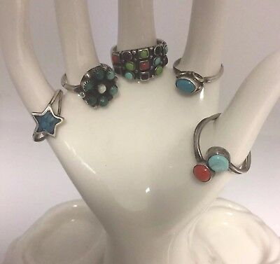 Vtg Estate Lot Of 5 Signed Sterling Silver 925 Turquoise Mexico Rings 14 Grams
