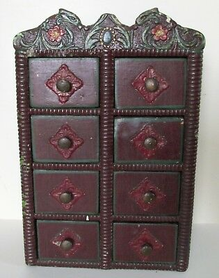 Antique 1915 Folk Art Handmade 8 Drawer Wall or Table Top,Spice Cabinet,Cupboard