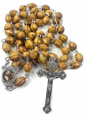 Catholic Rosary Olive Wood Necklace Handmade in Jerusalem Holy Land Prayer Faith