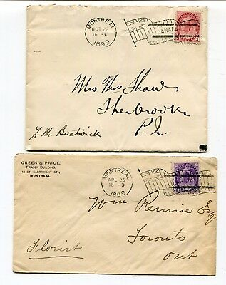 Canada QC Quebec - Montreal 1899 - Two Flag Cancel Covers - Numeral Issue