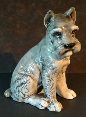 "Salt & Pepper Schnauzer Figurine ~ Large Ceramic 11"" T - Highly Detailed"