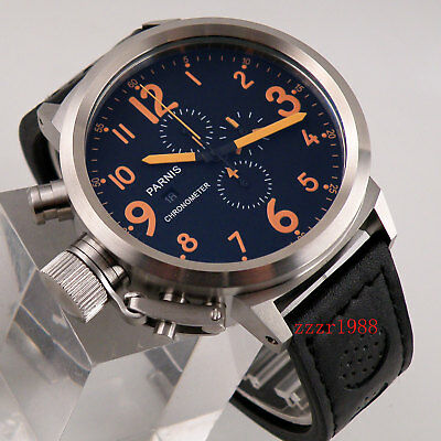 50mm Parnis orange number big face black dial mens quartz watch chronograph 549