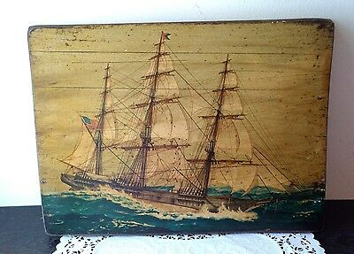 The Clipper Ship Challenge of 1851 Hand Painting Large Wooden Plaque