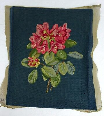 Pretty Needlepoint Tapestry Stool Cushion Cover Picture Antique Vintage Floral