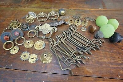 Large Lot ANTIQUE DRAWER PULLS CABINET KNOBS Brass Cast Iron Eastlake Hardware
