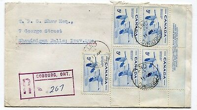 Canada ONT Ontario - Cobourg 1955 Whooping Crane - Plate Block Registered Cover