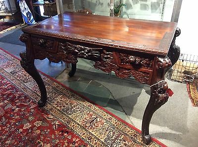 Asian Carved Wood Desk