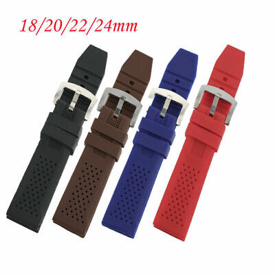 Black/Brown/Red/Blue 18/20mm/22mm/24mm Silicone Rubber Watch Band 2 Spring Bars