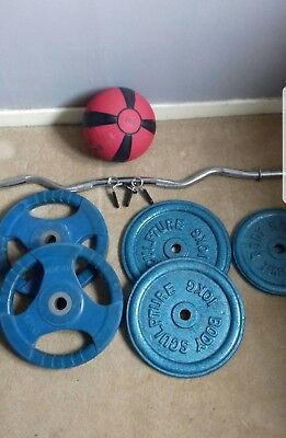 4 x 10KG Weights Plates 40KG Total Includes Curl Bar