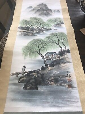 Fine Art - Painting - VINTAGE Scroll; Asian Riverside