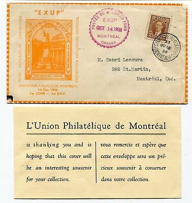 Canada 1938 EXUP Montreal - Philatelic / Stamp Exhibition Cachet Cover / Insert