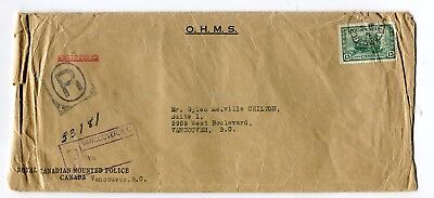 Canada BC Vancouver 1947 13c War Issue Tank - OHMS Perfin - RCMP Cover -