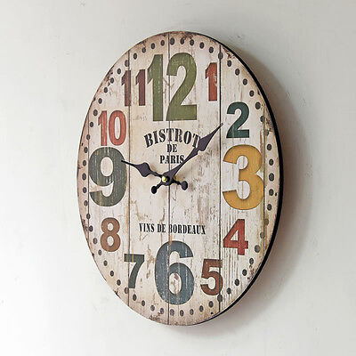 Large Vintage Rustic Wood Wall Clock Antique Shabby Chic Retro Clock Home Decor