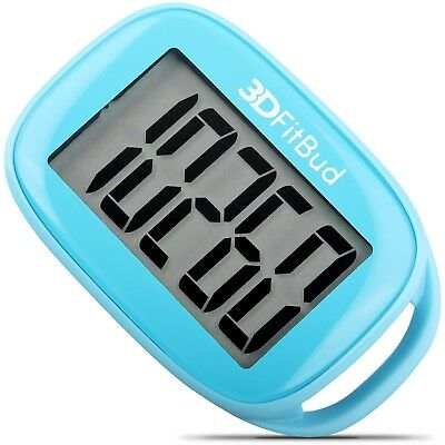 3DFitBud Simple Step Counter Walking 3D Pedometer with Lanyard, A420S (Blue)
