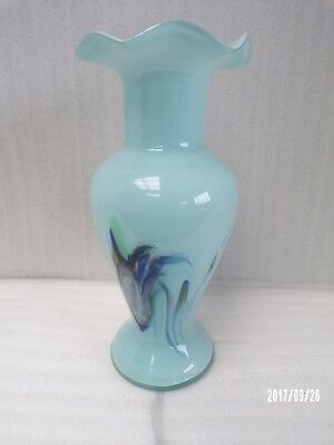 Nouveau Glass Opaline, Powder Blue Cased Vase With Marbled Pattern