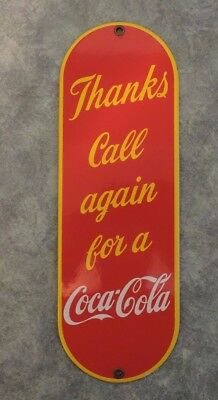 Thanks Call Again Coca-Cola Porcelain General Store Palm Press Advertising Sign