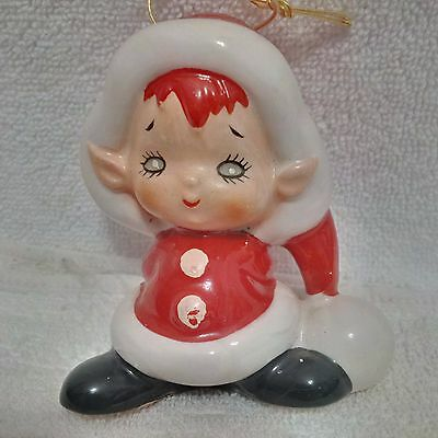 RARE,Vintage, Christmas Lefton Elf Ornament ,Japan, Ceramic