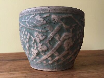 "Early RED WING BRUSHWARE GREEN 4"" JARDINIERE PLANTER Grapes Vineyard cache pot"