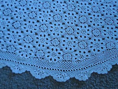 Antique French Hand-Made Crochet Table Cloth Coverlet 6 Ft.
