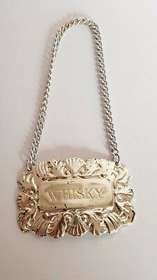 Silver Plated WHISKY DECANTER LABEL Made in England
