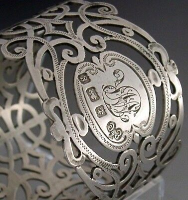 Stunning Sterling Silver Pierced Napkin Ring English Art Nouveau Antique 1906