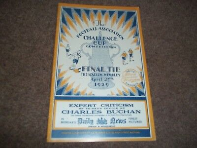 1929 Fa Cup Final Programme Bolton Wanderers V Portsmouth - Replica