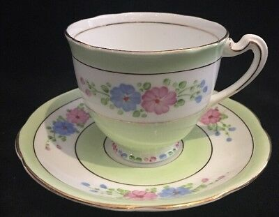 Royal Standard Tea Cup & Saucer Soft Green Pink and Blue Flowers Gold Trim