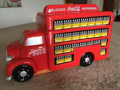 Coca Cola Cases Of Bottles On Red Delivery Truck Cookie Jar Gibson