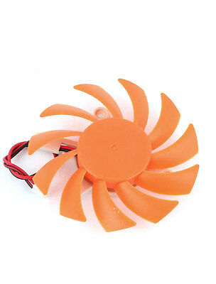 2Pin 75mm 7.5cm Orange 3 Hole 11 Blades PC VGA Video Graphics Card Cooling Fan