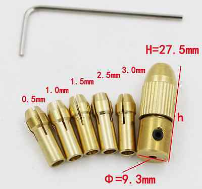 5pcs Mini Motor Shaft Clamp Woodworking brass Drill Chuck 0.5-3.0MM&Wrench Tool