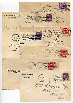 Canada Quebec - Montreal 1898-1900 Group of SEVEN Machine Flag Cancel Covers