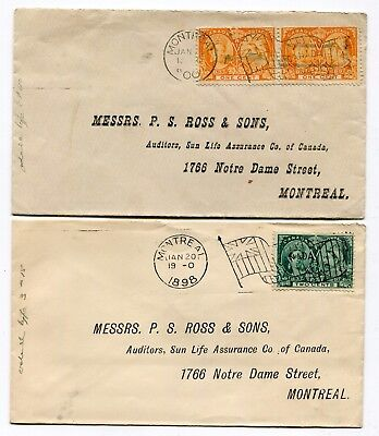 Canada QC Quebec - Montreal 1898 / 1900 Jubilee Issue - Two Flag Cancel Covers
