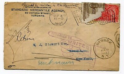 Canada ONT Toronto 1897 Flag - Jubilee Cover to USA - Returned Officially Sealed