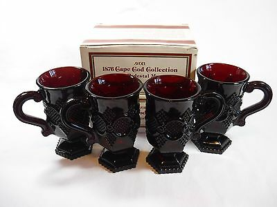 Avon 1876 Cape Cod Ruby Red Glass PEDESTAL MUGS, set of 4 w/ Original Boxes