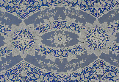 """Beautiful Antique Vintage Schiffli Lace Long Table Runner 77"""" by 16"""""""