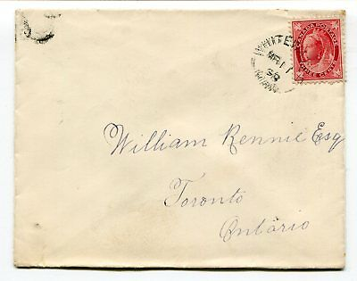 Canada MB Manitoba - Whitewater 1898 Split Ring Cancel Cover to Toronto